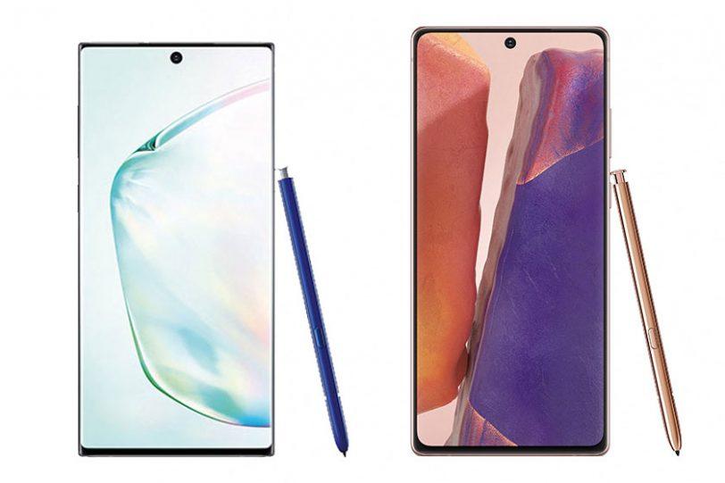 Galaxy Note 20 (מימין) מול Note 10 (תמונות: Samsung)