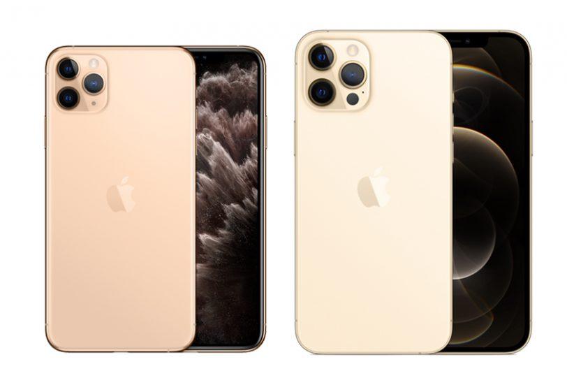 iPhone 11 Pro Max (משמאל) ו-iPhone 12 Pro Max (מימין)