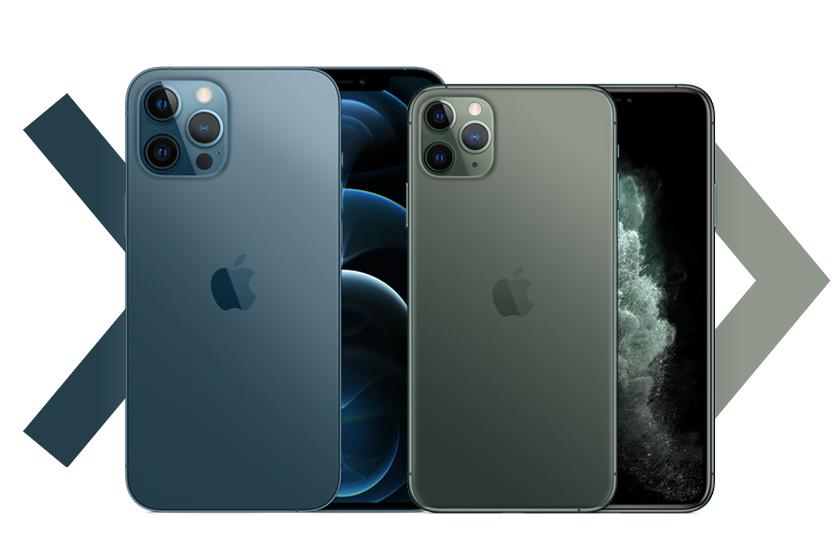iPhone 11 Pro Max (מימין) ו-iPhone 12 Pro Max (משמאל)