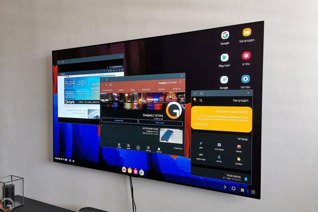 תצוגת Samsung Dex על הטלוויזיה (צילום: רונן מנדזיצקי)
