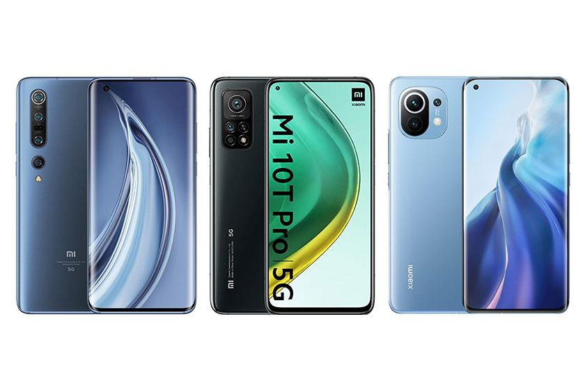 מימין לשמאל: Mi 11, Mi 10T Pro ו-Mi 10 (תמונות: Xiaomi)
