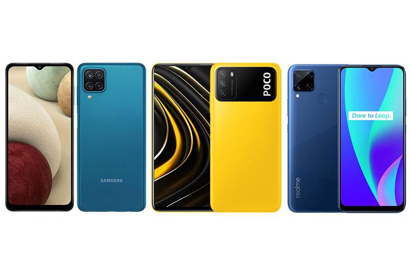 מימין לשמאל: realme c15 לצד Poco M3 ו-Galaxy A12