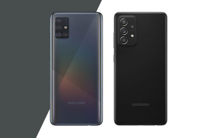 Galaxy A71 (משמאל) מול Galaxy A72 (מימין) (תמונה: סמסונג)