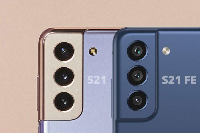 משמאל לימין: Galaxy S21 מול Galaxy S21 FE (תמונות: Samsung / @onleaks)