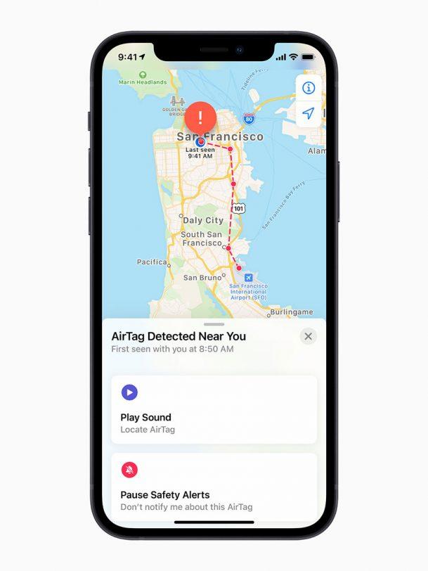 איתור ה-AirTags במפה (תמונה: Apple)