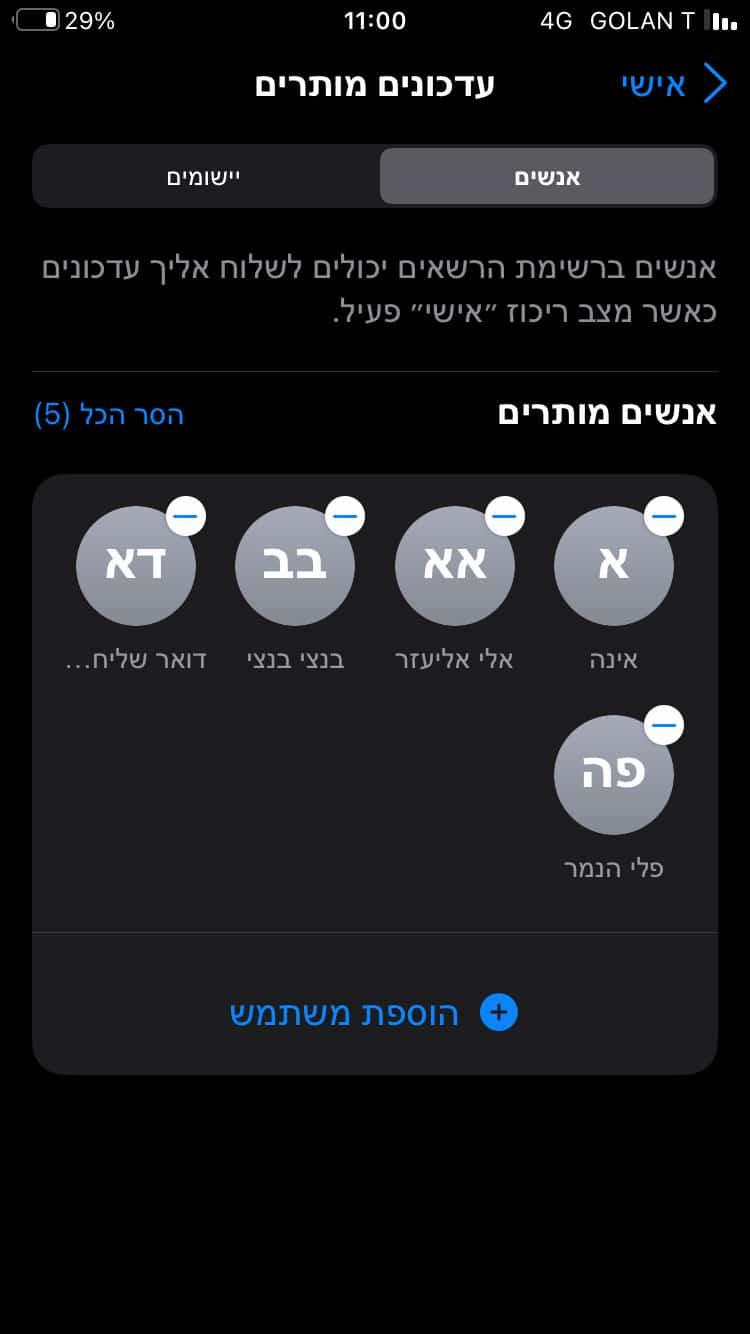 הגדרת אנשים מורשים למצבי פוקוס ב-iOS 15