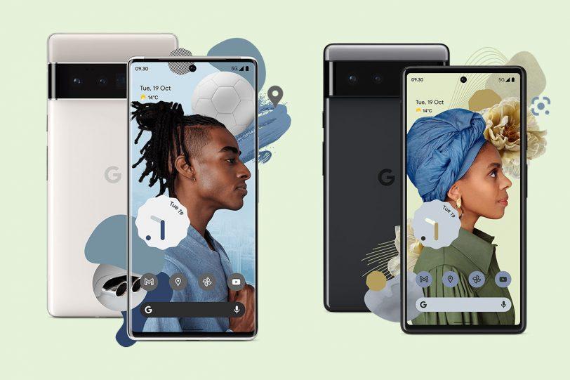 Google Pixel 6 (מימין) ו-Google Pixel 6 Pro (משמאל) (תמונה: carphonewarehouse)
