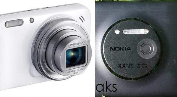 מימין: מצלמת הנוקיה Lumia EOS, משמאל: מצלמה הסמסונג Galaxy S4 Zoom
